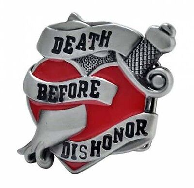 Vintage Death Before Dishonor The Road Warrior Belt Buckle Satin Green Red New