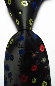 New-Classic-Floral-Black-Red-Blue-Yellow-JACQUARD-WOVEN-Silk-Men-039-s-Tie-Necktie