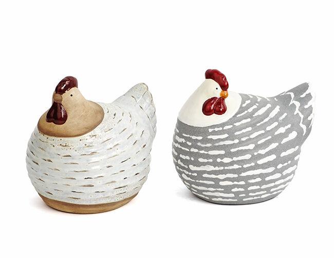 Grifo de cerámica gallina decoración cocina viven mesa pasillo Pascua figura 37072 gris