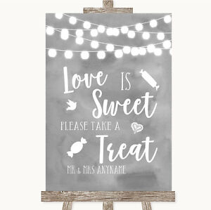 Burlap /& Lace Love Is Sweet Take A Treat Candy Buffet Personalised Wedding Sign