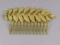 Gold Tone Laurel Leaf Leaves Metal Side Clip Hair Comb French Twist Prom Dressy