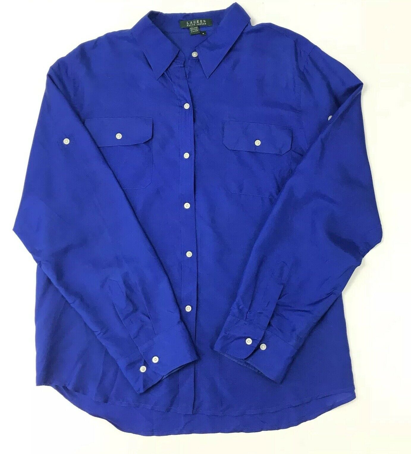 Lauren Ralph Lauren Woherren 100% Silk Cobalt Blau Button Up Blouse Größe 14