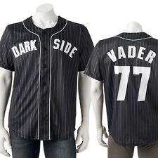 Large AUTHENTIC STAR WARS DARK SIDE VADER 77 Baseball Jersey shirt top Men's NWT