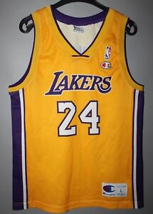 sports shoes d7d5d 6086b Details about NBA LOS ANGELES LAKERS BASKETBALL SHIRT JERSEY CHAMPION #24  KOBE BRYANT BOYS L
