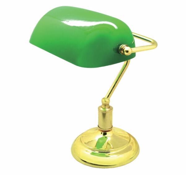 Classic bankers lamp table desk light polished brass green for Arredamento estetista usato
