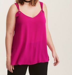 b9afe49aa9bc7 Image is loading Hot-Pink-Georgette-O-Ring-Cami-Plus-Size-