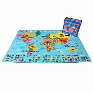 "IncStores - Foam World Map Playmat (60 pieces, 4' x 6'6"")"