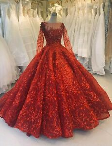 Red Or White Lace Applique Long Sleeves Ball Gown Wedding Prom Dress With Train Ebay