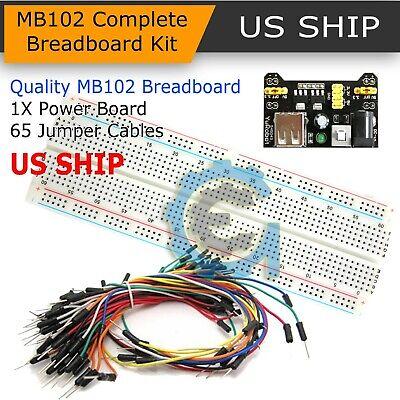 Breadboard Tablero 830 punto 65PCS Cable de puente MB102 Módulo de Fuente de alimentación 3.3 V 5 V