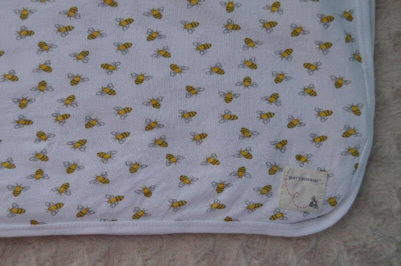 Burt's Bees Baby Blanket Swaddle White Yellow Organic Cotton Security Lovey