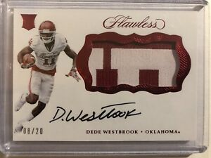 2017-Flawless-Collegiate-Dede-Westbrook-RPA-2-Color-Patch-Autograph-8-20-Sooners