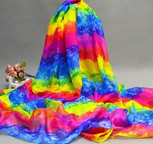 Rainbow Christmas Women Scarf Chiffon Wrap Shawl Stole Scarves Long 190*140cm