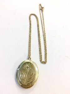 Fine Jewelry Precious Metal Without Stones Vintage Beautiful Engraved Flowers Sterling Silver Round Picture Locket Necklace