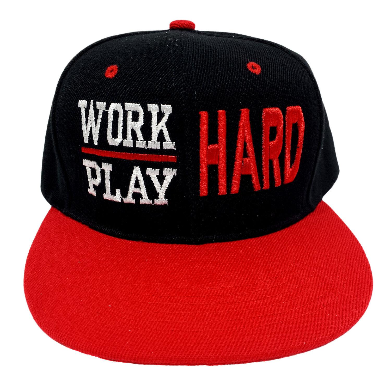 Work Snapback Hard Play Hard Black/Red Snapback Work Cap 3d32d5