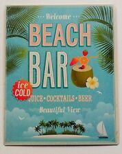 Vintage Retro Blue Seaside Welcome Beach Bar Metal Advert Plaque/Sign 25x20cm