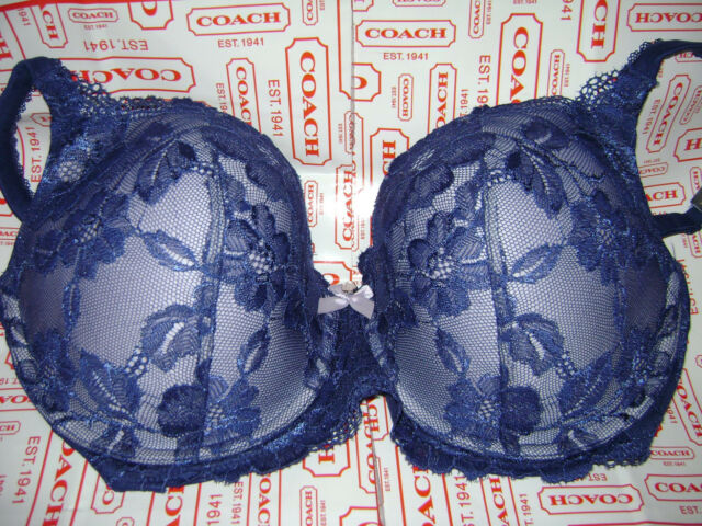 38a6582289 NWT VICTORIA S SECRET BODY BY VICTORIA LINED DEMI BRA 38DD ROYAL BLUE  STUNNING