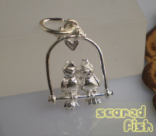 925 Sterling Silver LOVE BIRDS Charm Pendant wJump Ring