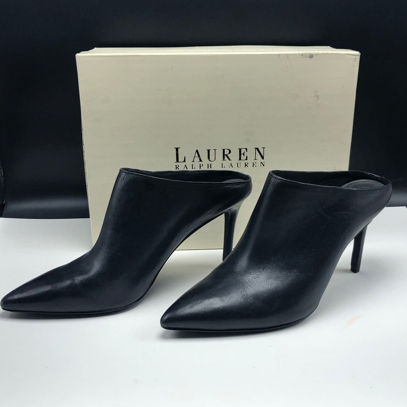 RALPH LAUREN BLACK LEATHER HIGH HEELS Kellie pm drs burnished 9.5 B shoes womens