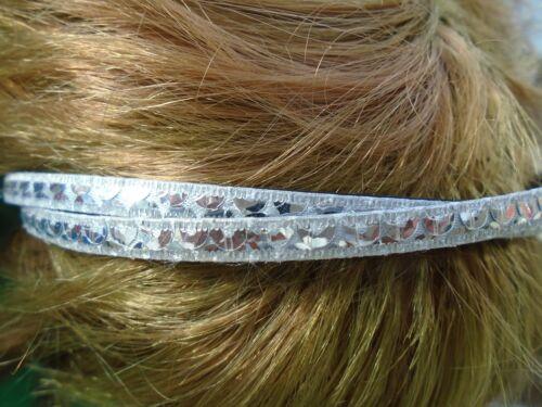 Cheveux paillettes argentées alice band 0,5 cm twisted bandes Plastique Bandeau Bandeau