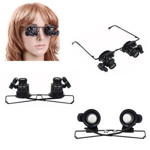 20x-fach-Juwelier-Uhrmacher-Lupe-Brillenlupe-Lupenbrille-LED-Licht-Reparatur