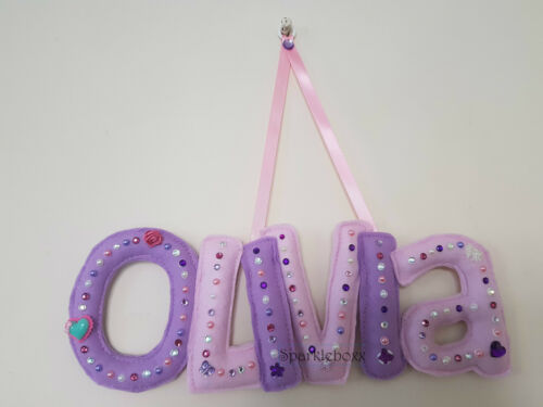 Personalised Name baby boy girl christening door wall fabric letters hanging