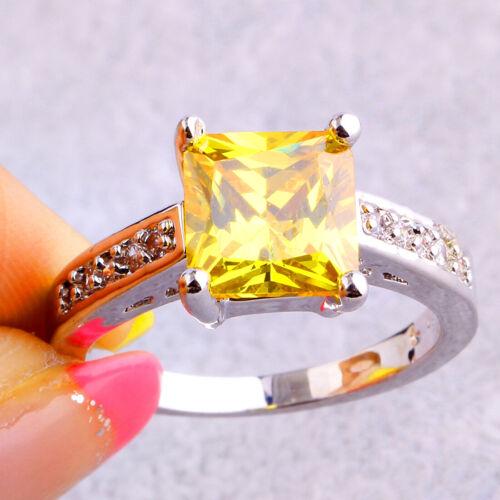 Simple Bride Princess Cut Citrine White Topaz Gemstone Silver Ring Size 7 8 9 10