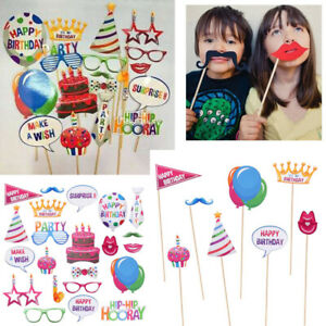 22x-Kids-Birthday-Balloon-Photo-Booth-Props-Party-Photography-Selfie-Faces-Decor
