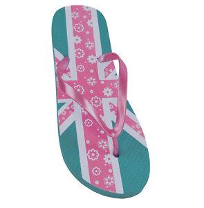 Señoras Rosa Union Jack Diseño Flip Flop Playa Sandalias Tanga Verano Sandalias