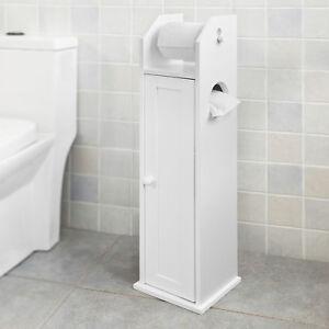 SoBuy-Freistehend-weiss-Toilettenrollenhalter-Papier-Halter-Badregal-FRG135-W