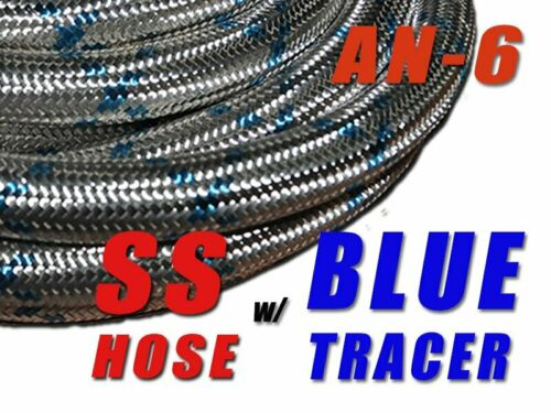 """6AN Blue Tracer STAINLESS STEEL BRAIDED 3//8/"""" 3FT OIL FUEL HOSE E85 friendly"""