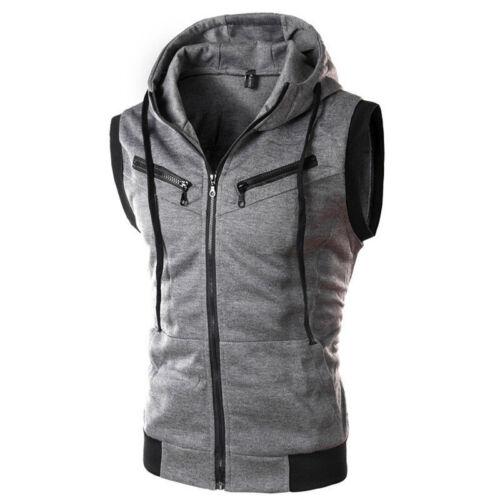 Mens Hoodie Casual Sweatshirt Hooded Sweater Vest Sports Gym Jacket Coat Tops