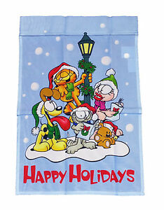 """GARFIELD HAPPY HOLIDAYS WITH GANG MINI FLAG 12/""""x18/"""" ~NEW"""