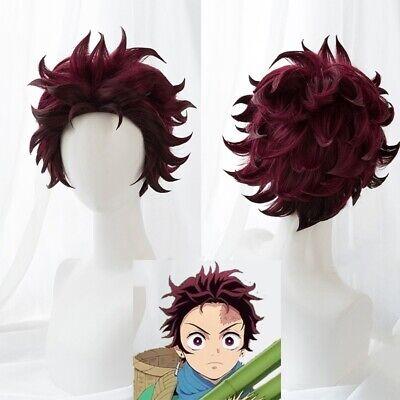 Kamado Tanjirou Cosplay Wig Demon Slayer Kimetsu No Yaiba End Curl Short Hair Ne