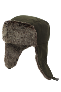 a22b6bef612 Image is loading Waxed-Trapper-Hat-With-Faux-Fur-Trim-Olive