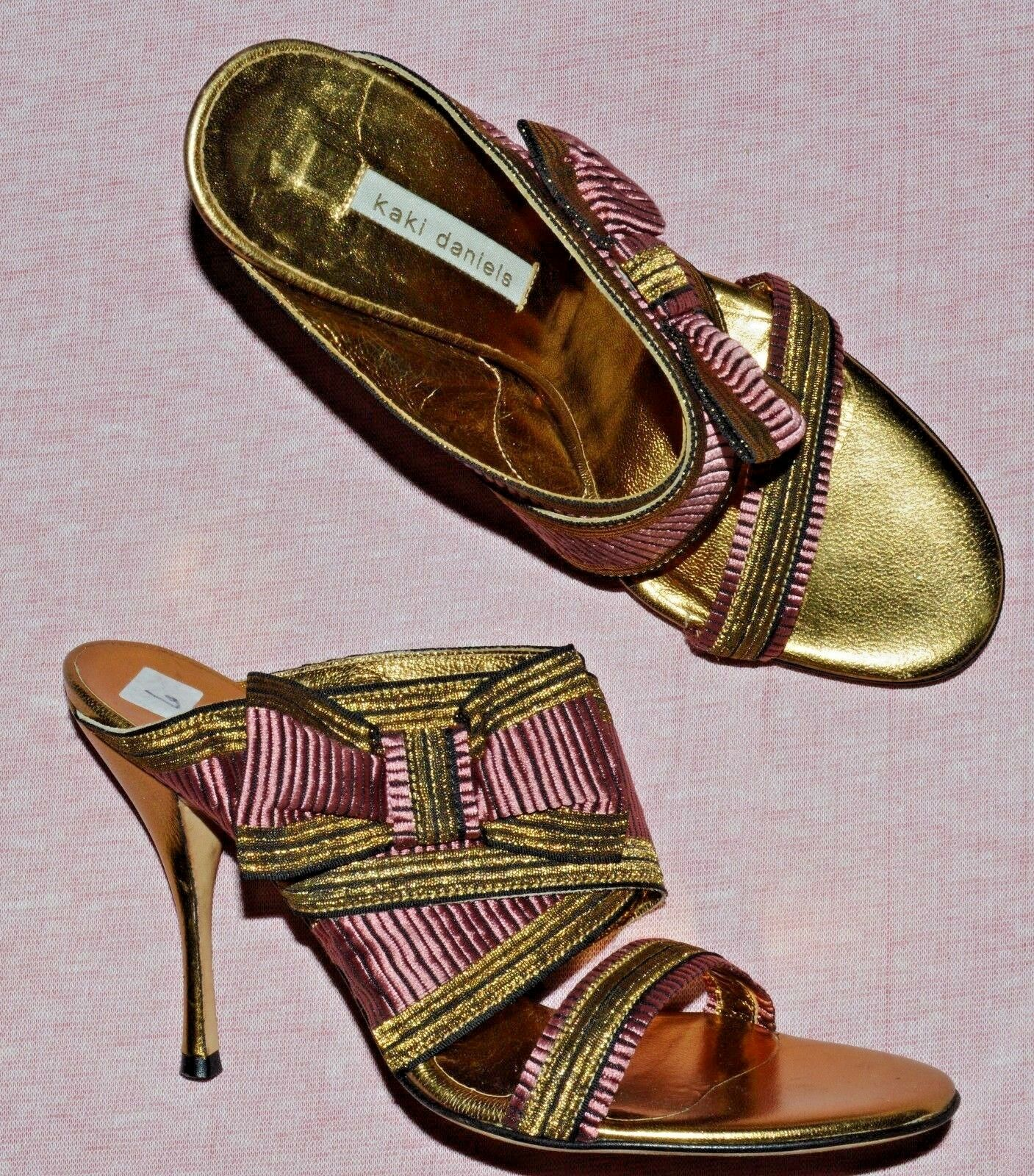 KAKI DANIELS NEW 6 M 36 PINK gold FABRIC LEATHER LEATHER LEATHER SLIDE SANDALS MADE IN ITALY 0918c9