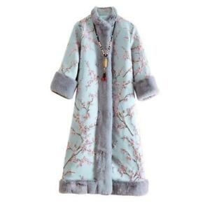 Chinese Style Women Cotton Quilted Parka Coat Floral Warm Thicken Long Jackets L