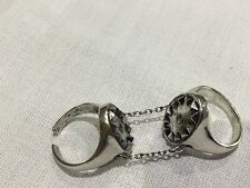 House of Harlow 1960 New & Genuine Silver Plated Double Chain Ring Size 7