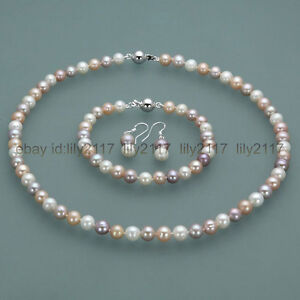 7-8mm-Real-Natural-Multi-Color-Freshwater-Pearl-Necklace-Bracelet-Earrings-Set