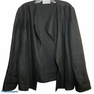 Dusan-Womens-Long-Sleeve-Open-Front-Blazer-Jacket-Black-Linen-Size-M-Langenlook