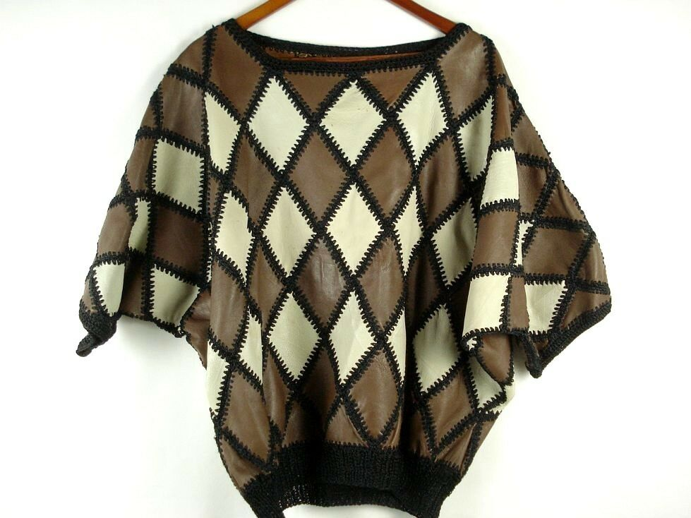 Vintage 60s 70s damen Lamb Leather Diamond Patchwork Dolman Sleeve Cape Top