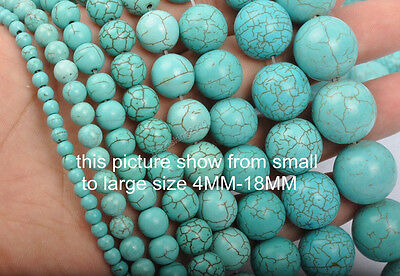 Blue Turquoise Gemstone Round Loose spacer Beads 2mm 3mm 4mm 6mm 8mm 10mm-20mm