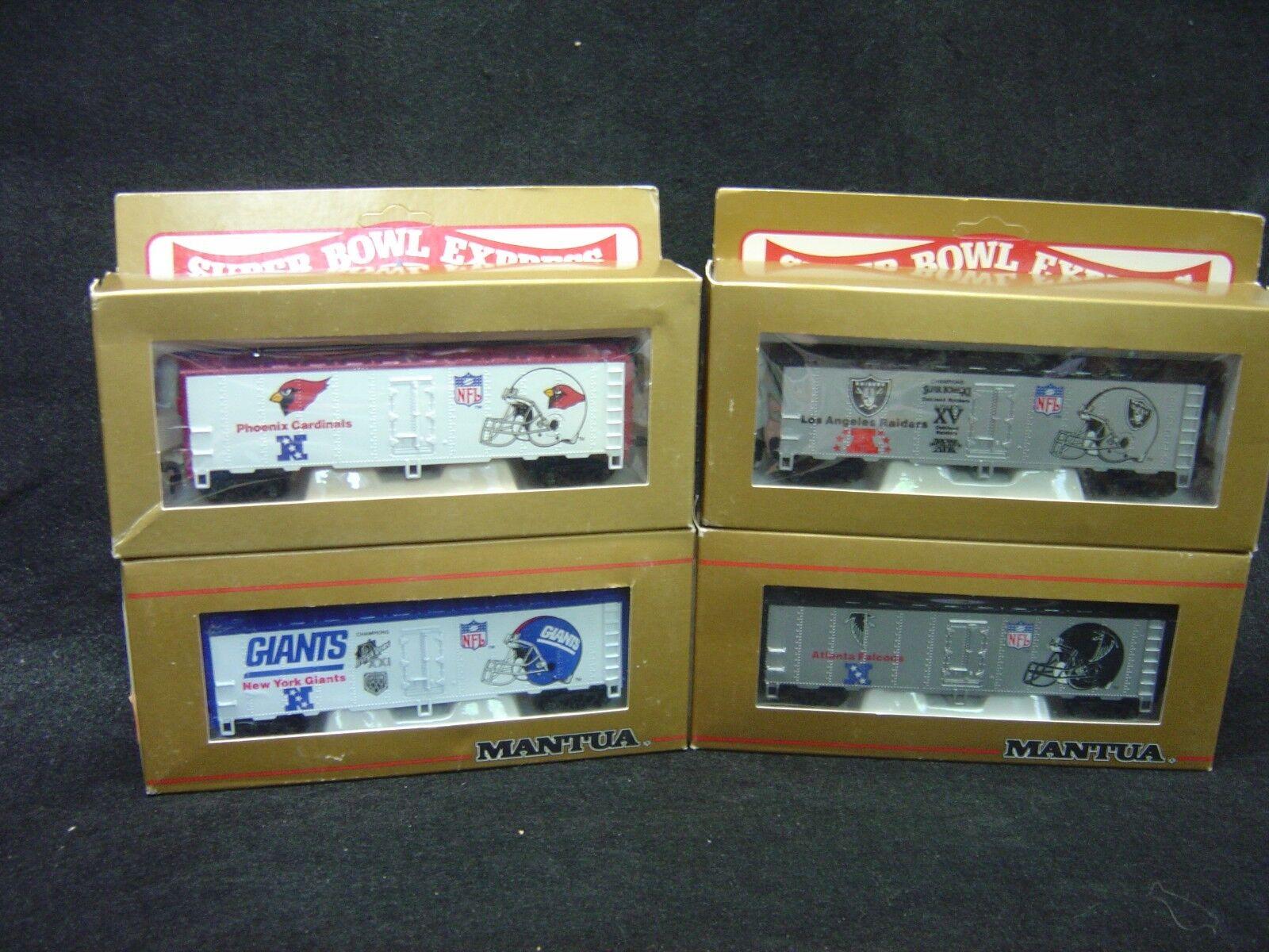 NEW HO Mantua NFL Superbowl express box cars set of 4