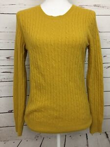 J Crew Yellow Cable Knit Cashmere Blend Sweater Women's Size Small