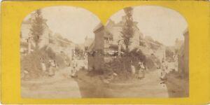 Scena Da Village Francia? Stereo Stereoview Vintage Albumina Ca 1865