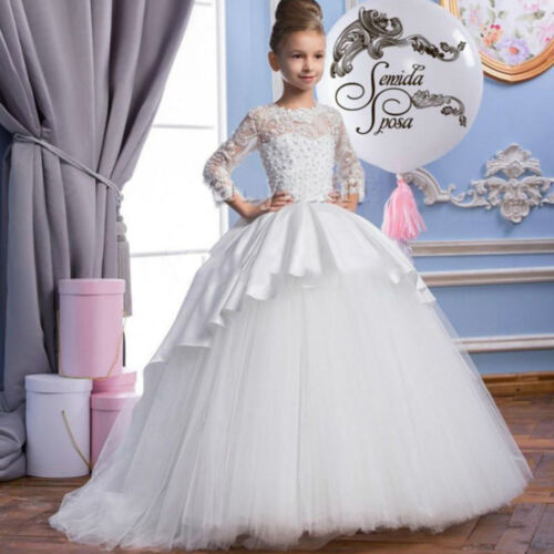 Long Sleeves Vintage Flower Girl Dresses Kids Christmas Birthday Pageant Gowns