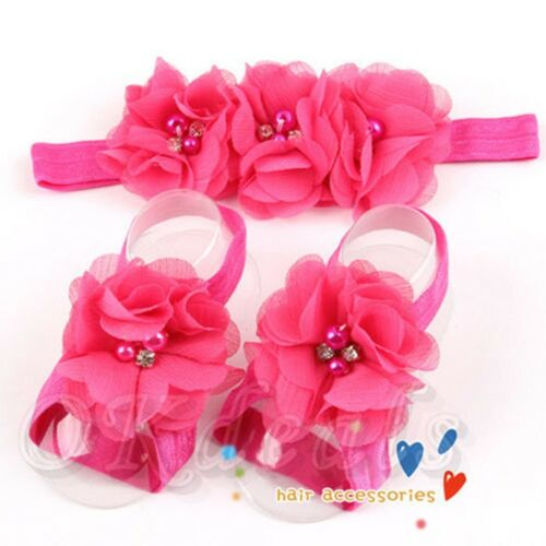 Lovely Headband+Foot Flower Barefoot Sandals Set for Baby Infants Gifts Chiffon