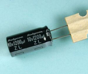 10 condensateurs 1200uF 10V 105°C Rubycon ZL