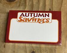 Autumn Savings Gondola Slat Grid Wall Retail Shelf Signs Price Cards 100