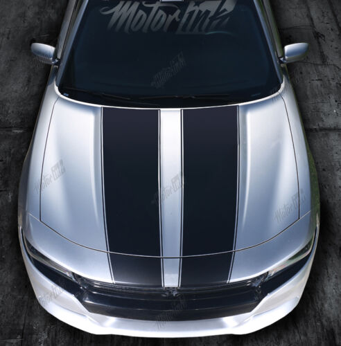 2015-2018 Dodge Charger Hood Blackout Rally Stripes Racing Graphics Decals