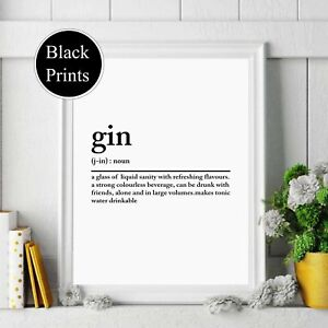 Details about Gin Wall Print Definition noun Typography Home Decor, Wall  Art, Kitchen Print